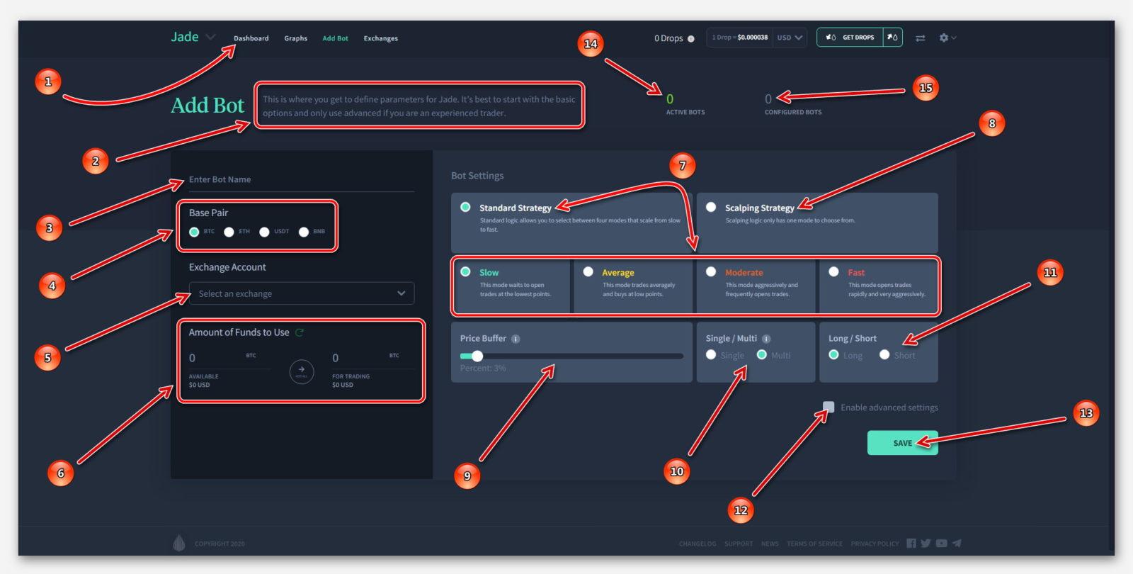 Обзор информационной панели, в Роботе Jade, на платформе Dropil