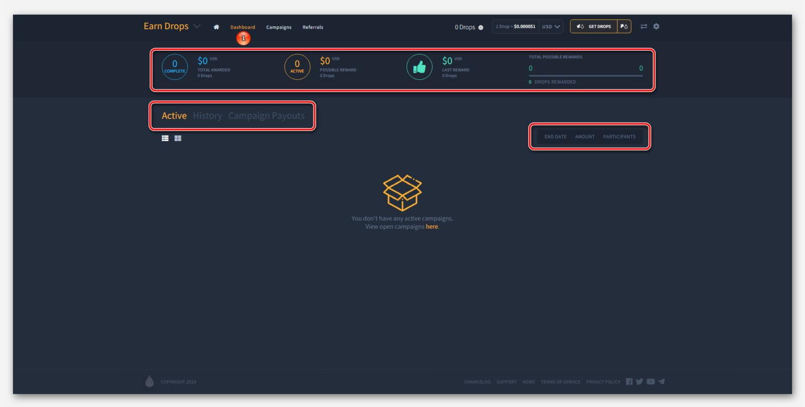Панель мониторинга в проекте Earn Dropil от компании Dropil