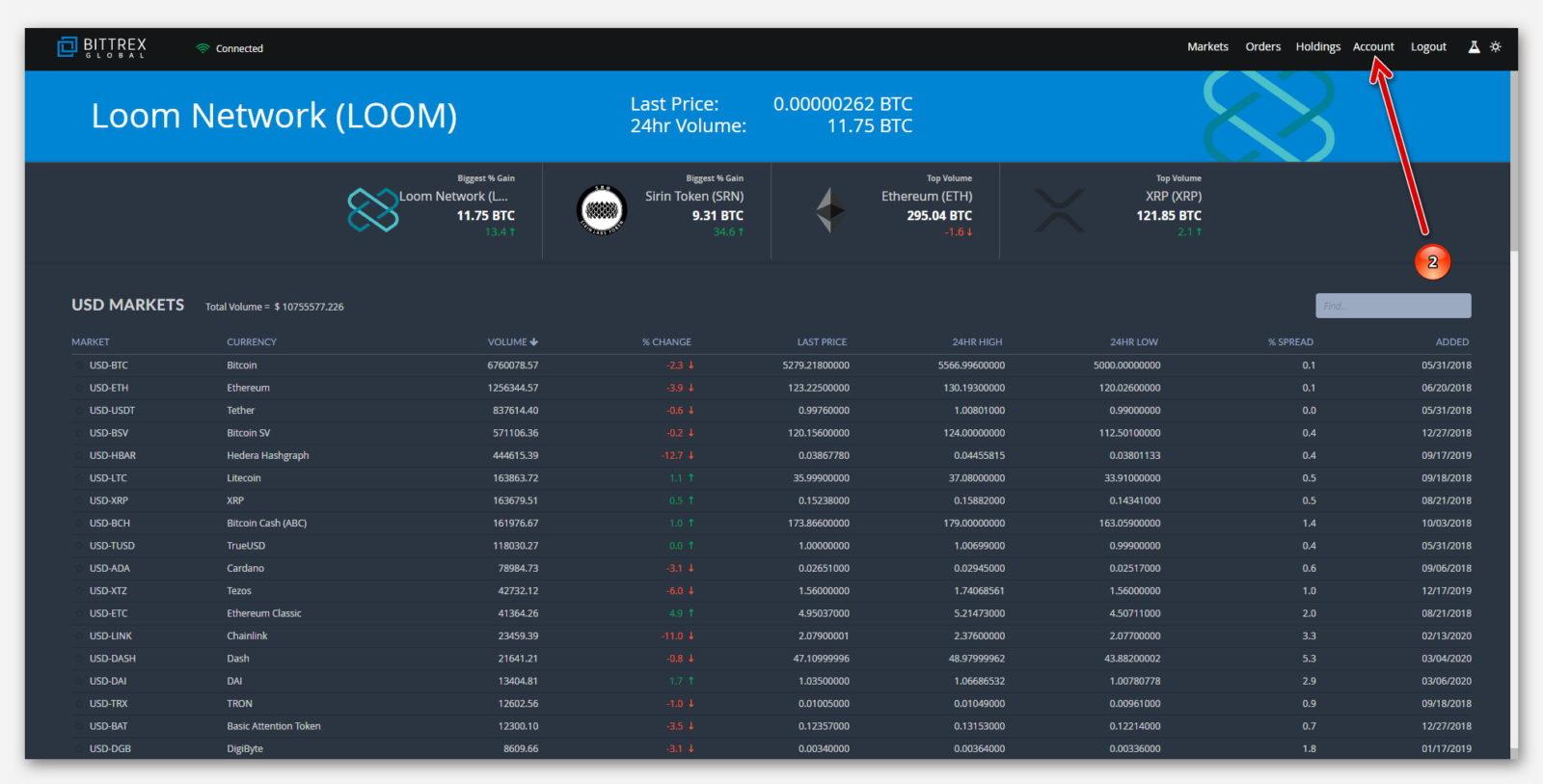 Перейти в свой аккаунт на бирже Bittrex