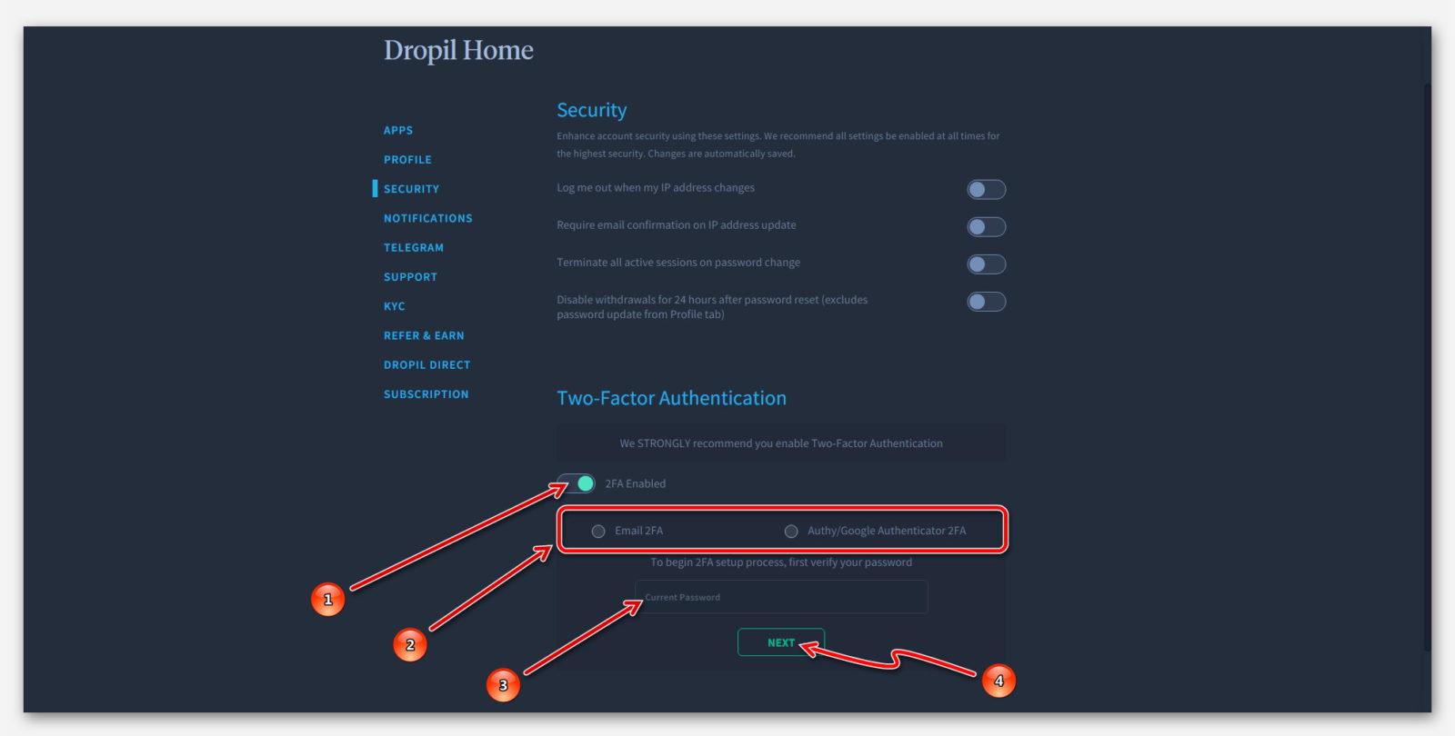 Подключение 2FA в проекте Dropil