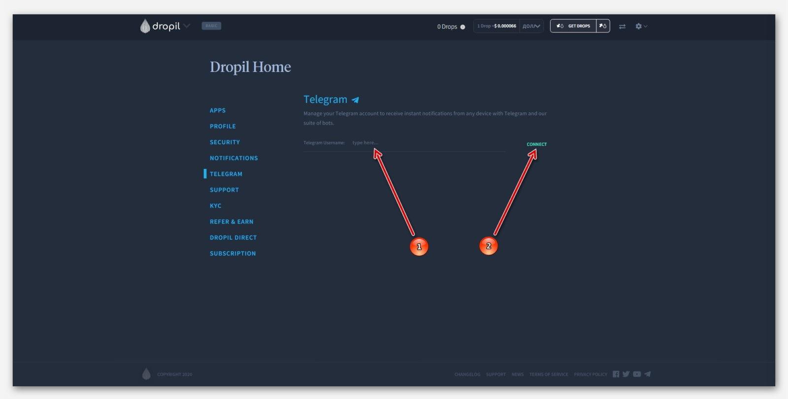 Подключение социальной сети Telegram, к своему аккаунту, в проекте Dropil