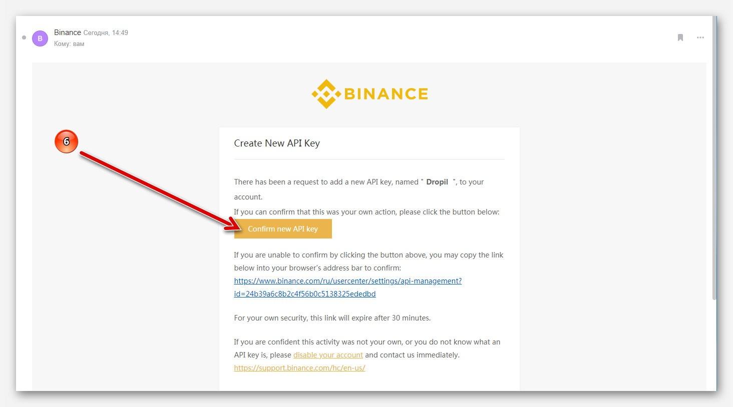 Подтверждение создание API ключа, на бирже Binance