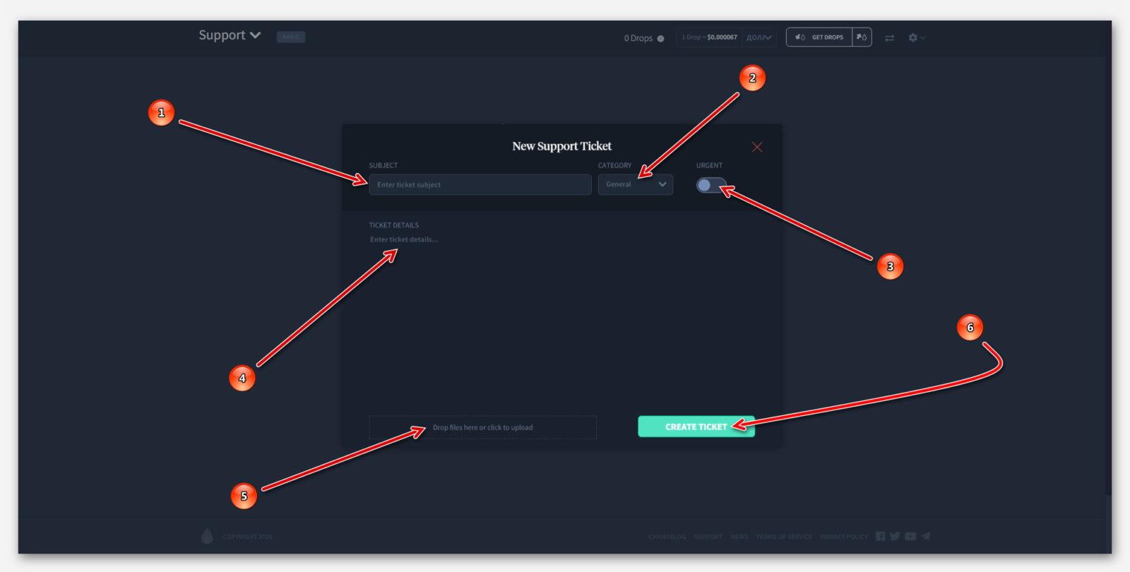 Процесс создание вопроса, в техническую поддержку, в проекте Dropil