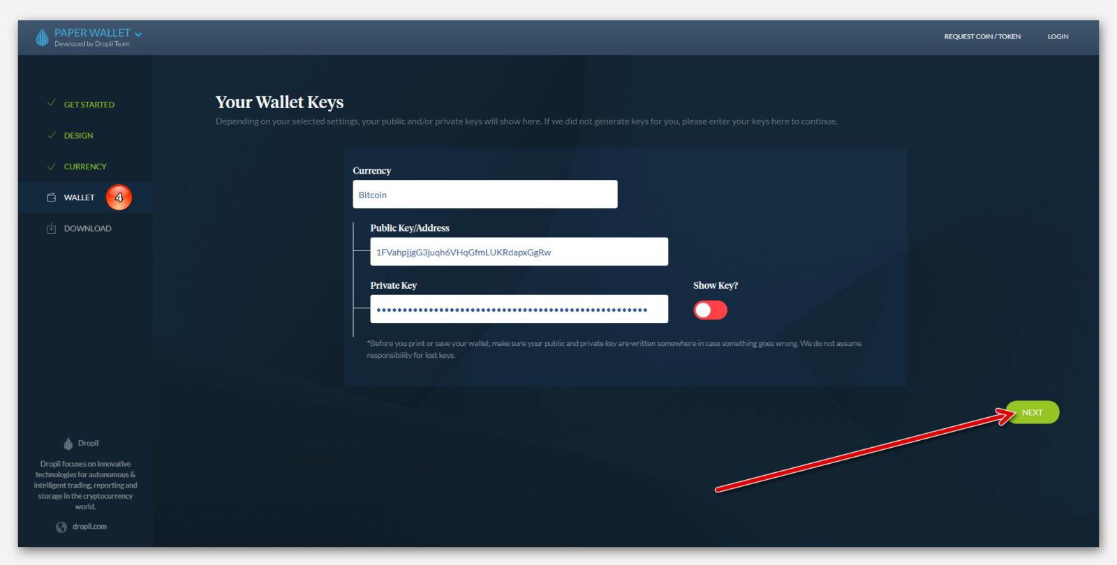 Публичный адрес бумажного криптовалютного кошелька с приватным ключом в Paper Wallet, от компании Dropil