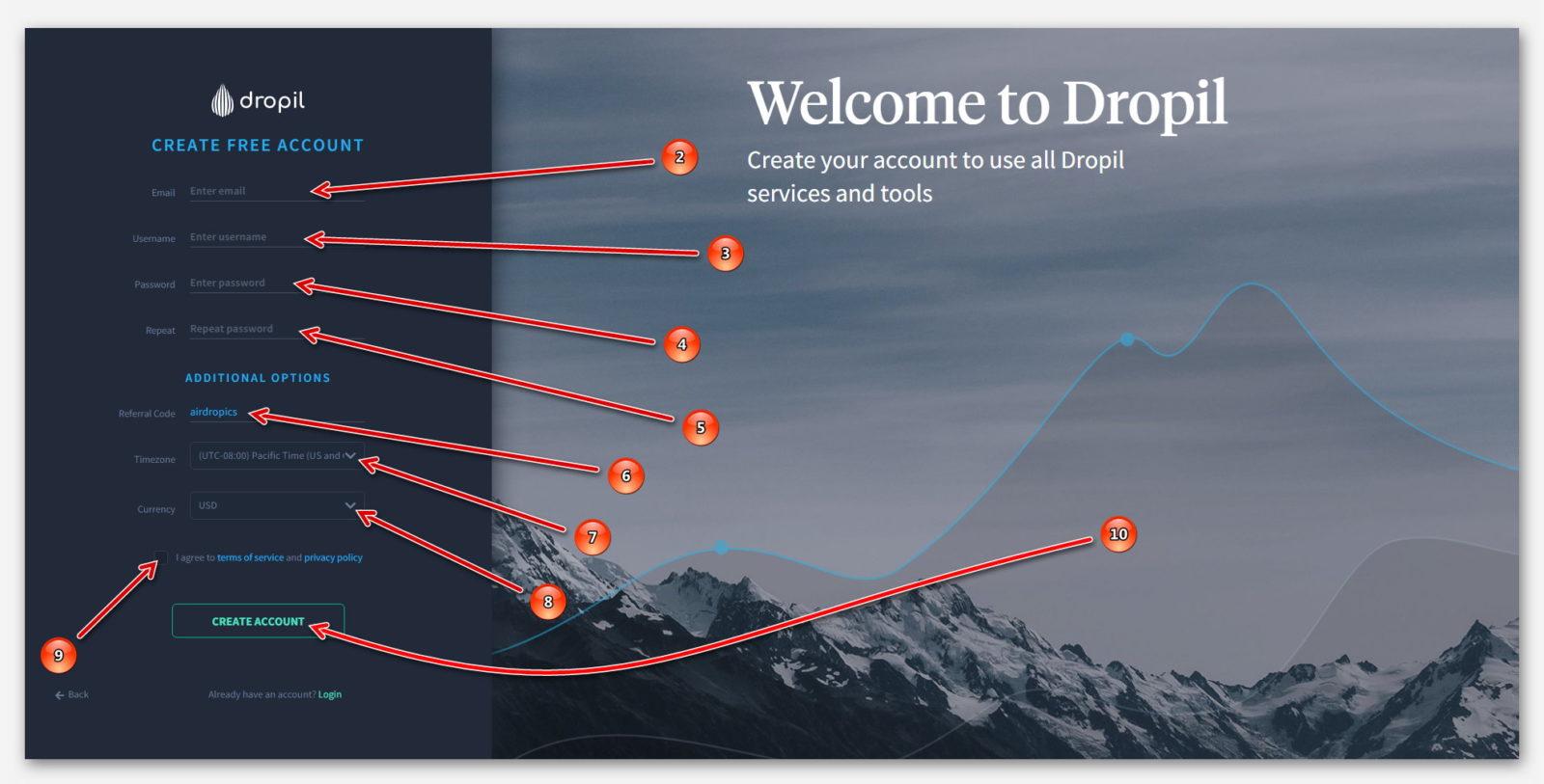 Регистрация в проекте Dropil