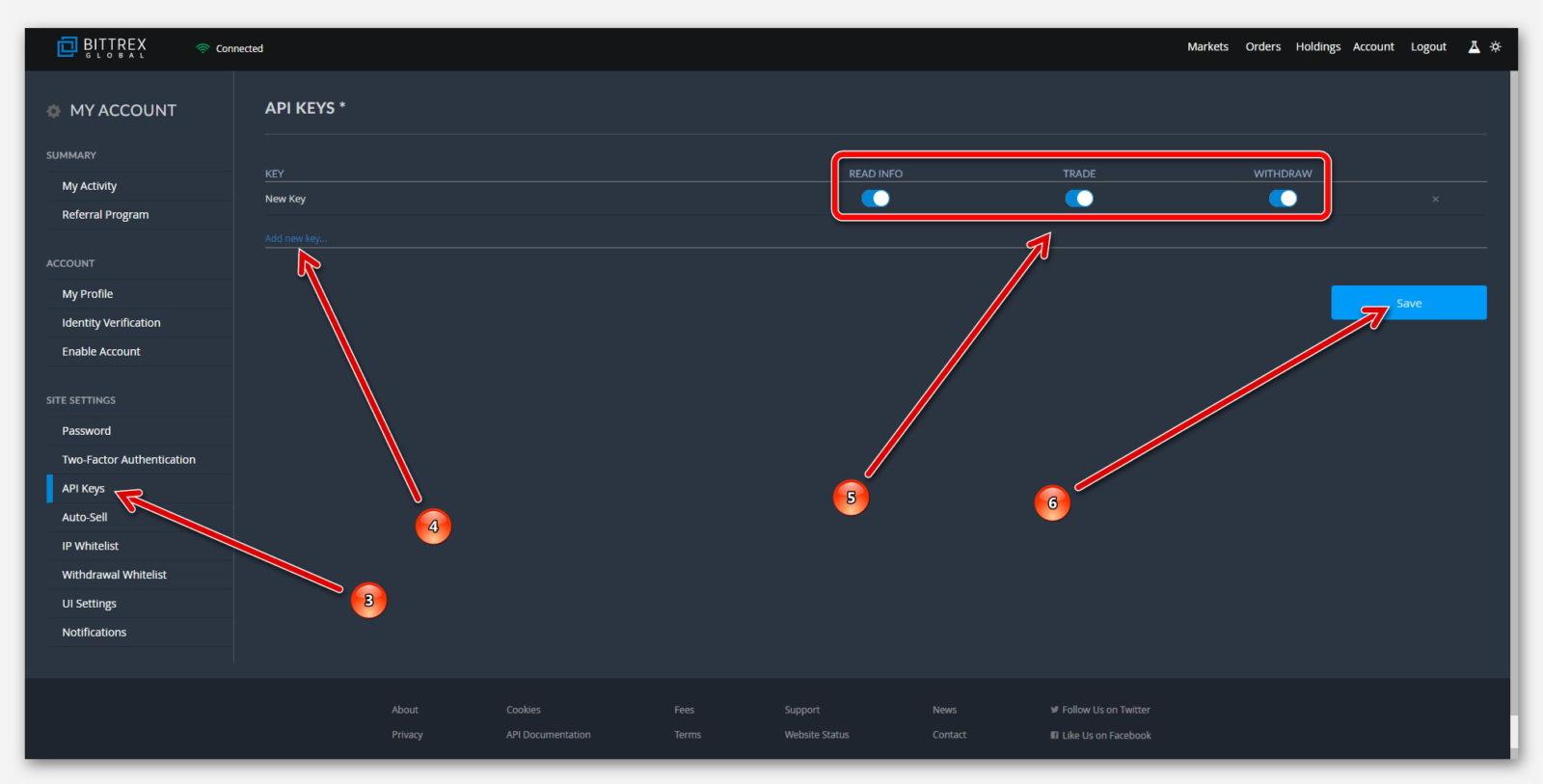 Создать API ключ, на бирже Bittrex