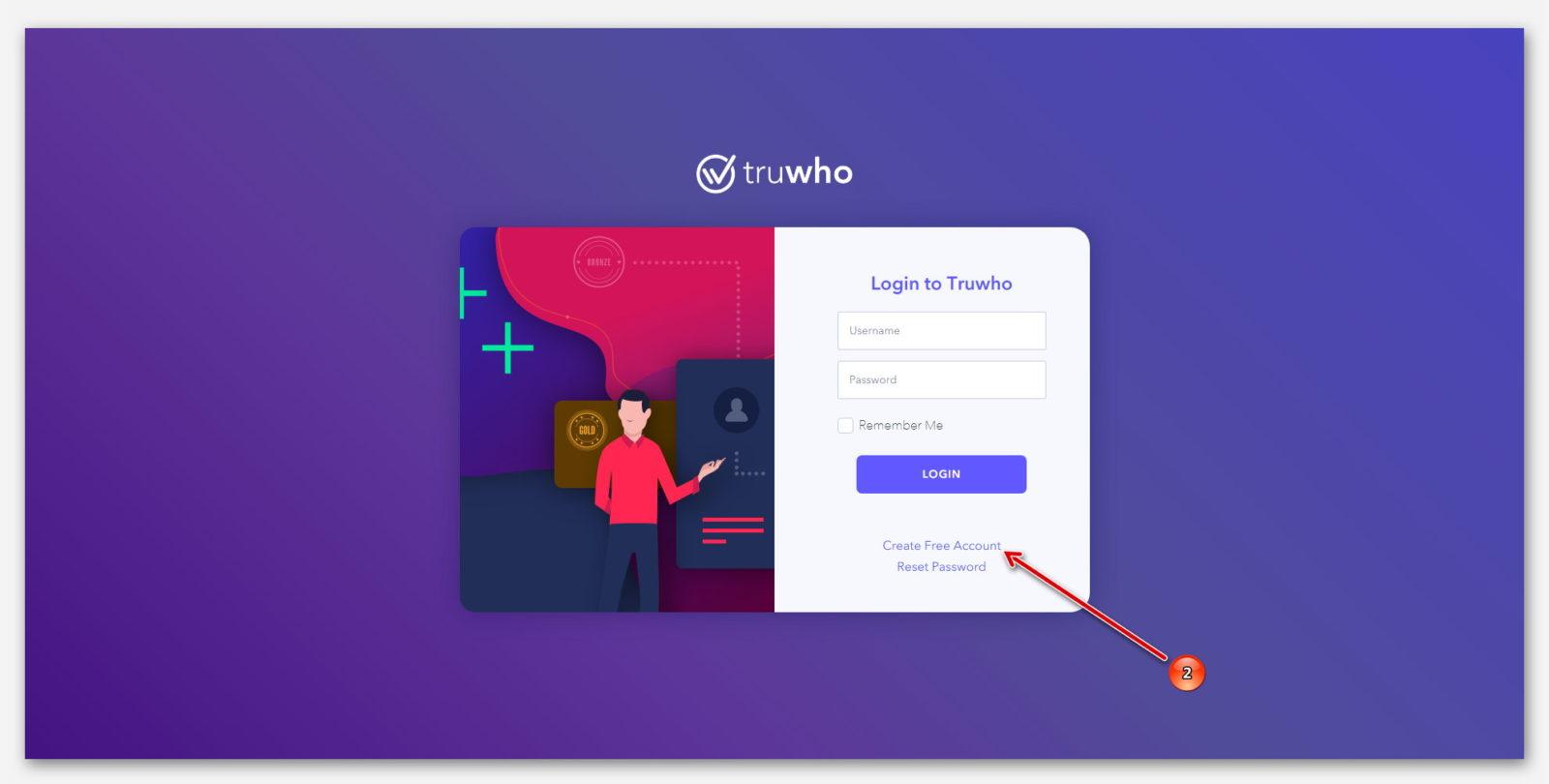 Создать новый аккаунт, на сайте верификации Truwho