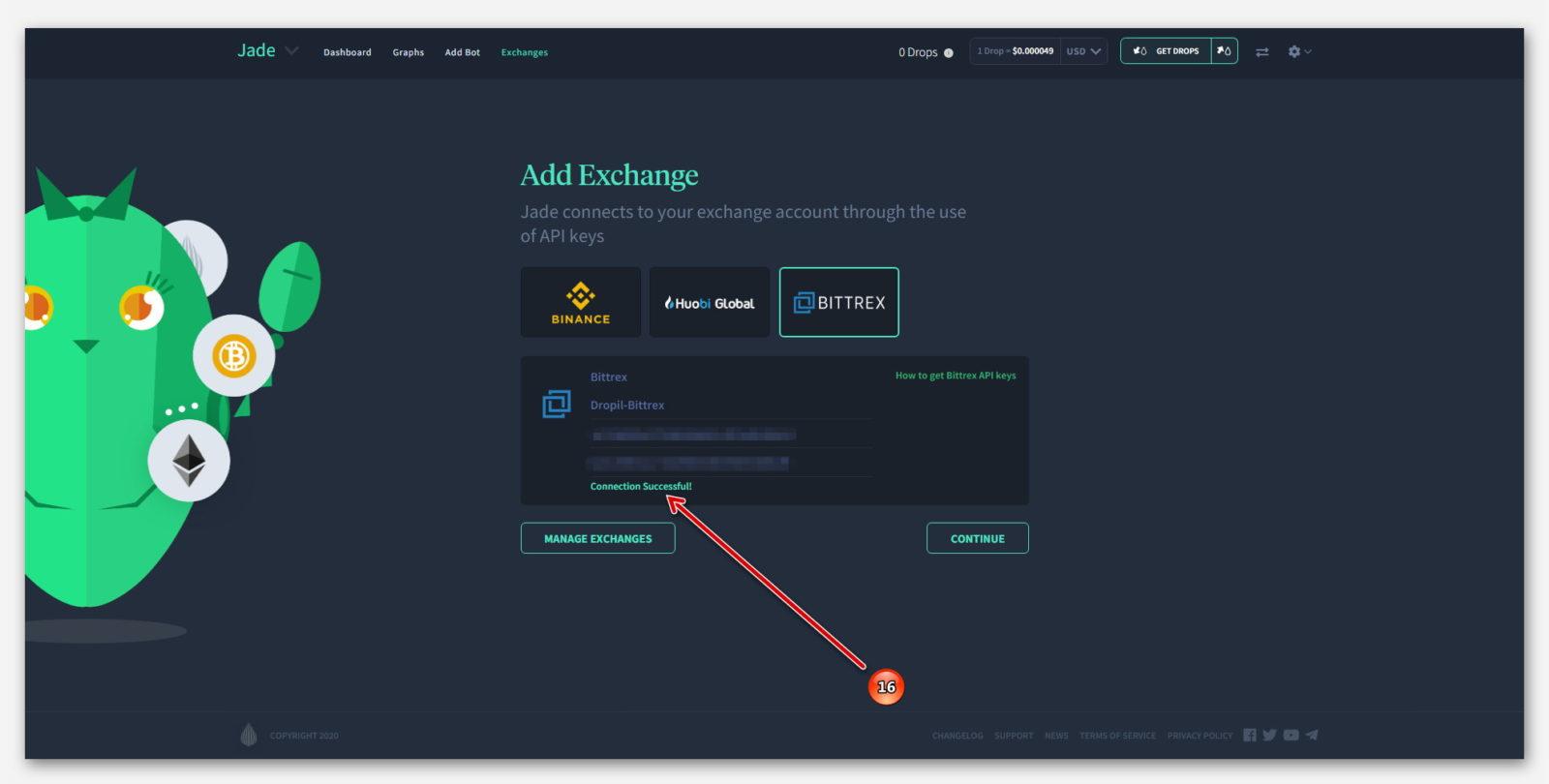 Удачное подключение Робота Jade, к бирже Bittrex в проекте Dropil
