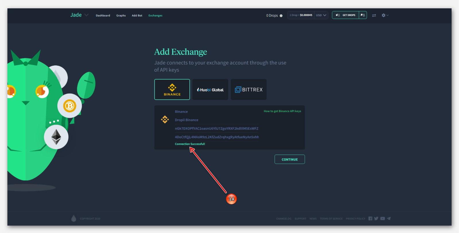 Успешное подключение Робота Jade ,к бирже Binance, в проекте Dropil