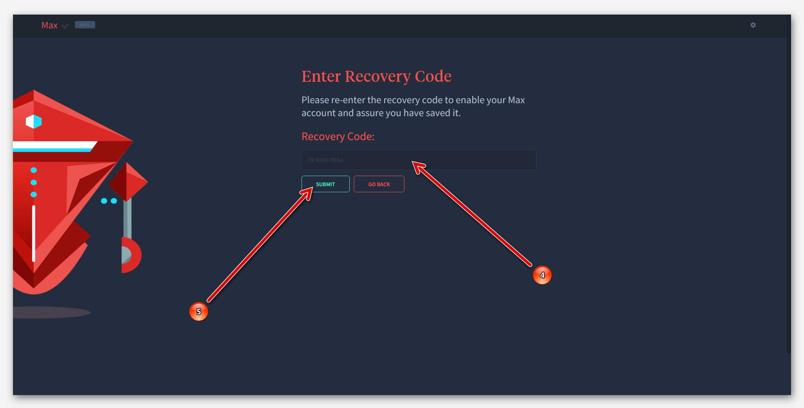 Вставить код восстановления в Роботе Max, на платформе Dropil