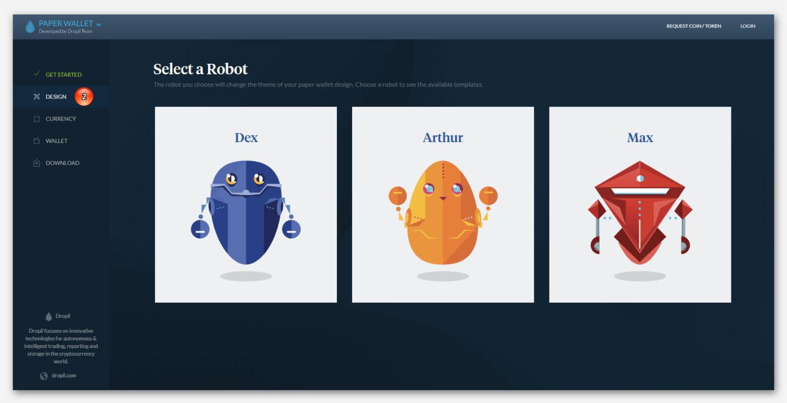 Выбрать дизайн для Paper Wallet, от компании Dropil