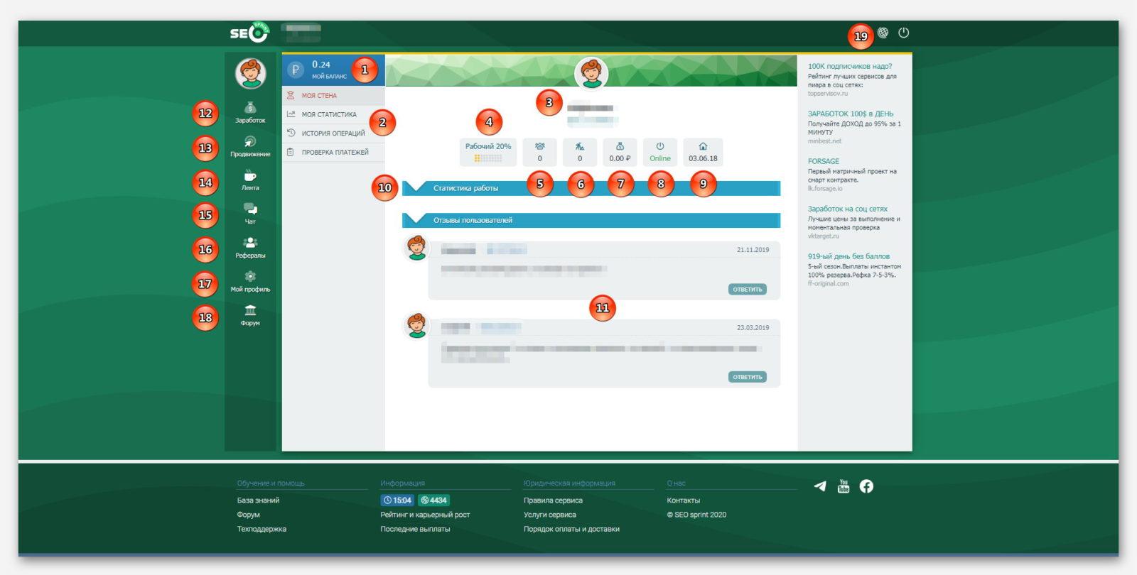 Обзор личного кабинета, в проекте SEO sprint