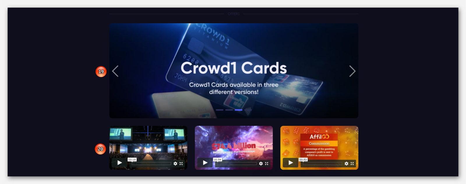 Различные предложение и видео-презентации, в проекте CROWD1
