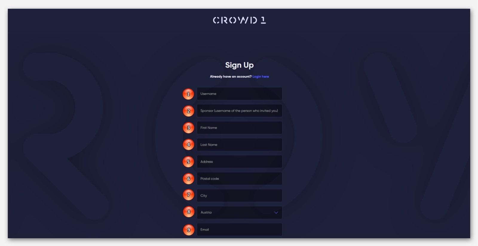 Регистрация в проекте CROWD1