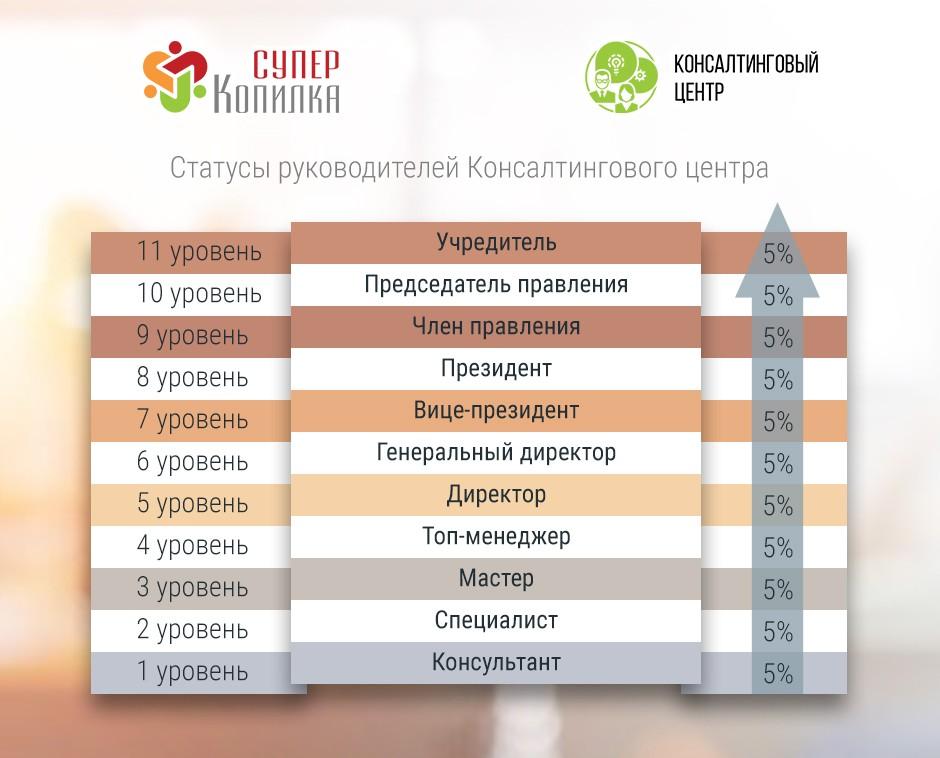 Уровни и статусы в консалтинговом центре, в проекте СуперКопилка