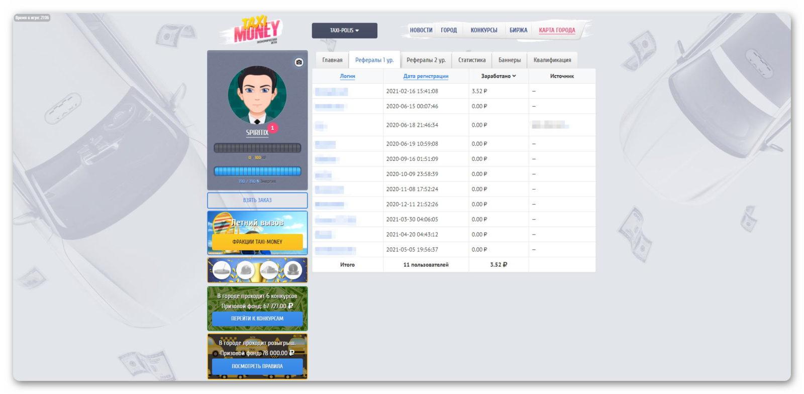 Рефералы 1 уровня в игре Taxi-Money